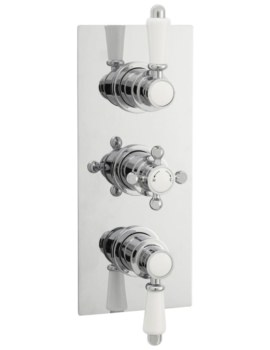 Victorian Rectangular Thermostatic Triple Concealed Shower Valve