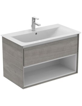 Concept Air 800mm Wall Hung 1 Drawer With Open Shelf Light Grey Wood Vanity Unit