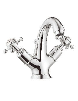 Aqva Metz Crosshead Highneck Monobloc Basin Mixer Tap With Waste
