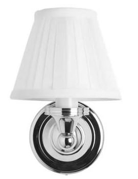 Round Light With Chrome Base And White Fine Pleated Shade