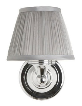 Round Light With Chrome Base And Silver Chiffon Shade