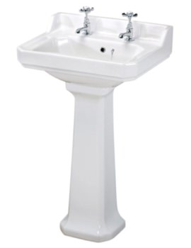 Ambience 600mm 2 Tap Hole Basin And Full Pedestal