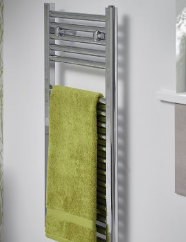 Space Saving Chrome 400 x 1512mm Straight Towel Warmer