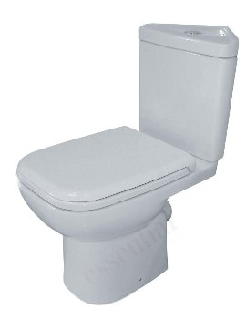 Violet Corner Close Coupled WC Pan With Cistern And Seat