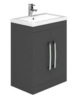 Essential Nevada Grey 600mm 2 Door Vanity Unit And Basin