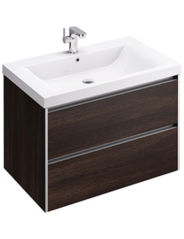 Xcite 800mm Wall Hung Double Drawer Dark Oak Unit And Basin