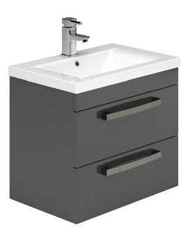 Essential Nevada 600mm Grey Wall Mounted 2 Drawers Vanity Unit And Basin