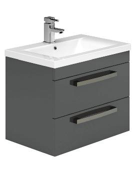 Nevada 800mm 2 Drawers Wall Hung Grey Vanity Unit And Basin