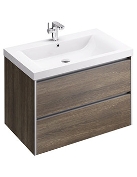 Xcite 800mm Wall Hung Double Drawer Light Oak Unit And Basin