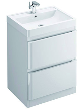 Flite 600mm Double Drawer Floor Standing Unit And Basin