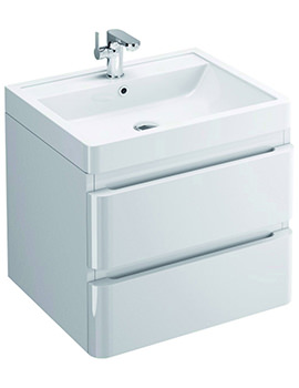 Flite 600mm Wall Hung Double Drawer Unit And Basin
