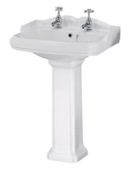 Victorian 580mm 2 Tap Hole Basin And Pedestal