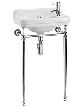 Burlington Edwardian 510mm Cloakroom Basin And Chrome Wash Stand