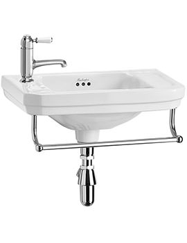 Victorian Cloakroom Basin 510mm LH Tap Hole With Towel Rail