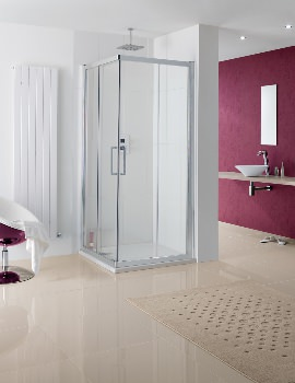 Coastline Malmo Silver Corner Entry Shower Enclosure 700 x 2000mm