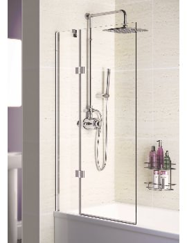 Lakes Coastline Silver Left Hand Hinged Bath Screen 1000 x 1500mm