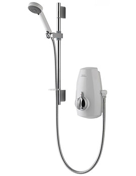Aquastream Thermo White And Chrome Slide Rail Power Shower
