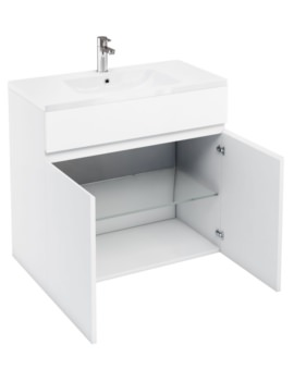 Aqua Cabinets D450 White 900mm Floor Standing Double Door Vanity Unit