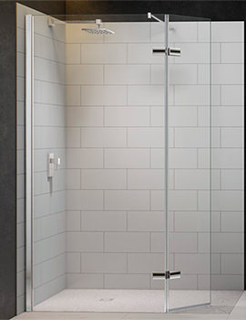 8 Series 1050mm Showerwall With Hinged Swivel Panel And Tray 1200x900mm