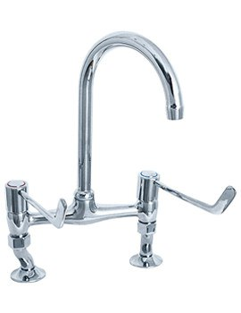 Lever Action 6 Inch Lever Bridge Sink Mixer Tap - DLV305B
