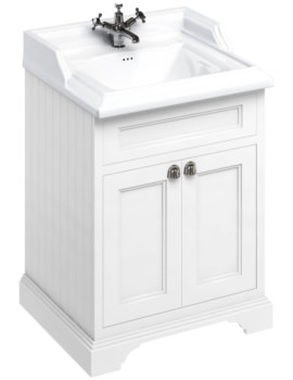 650mm Freestanding Matt White Two Door Vanity Unit With Classic Basin