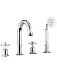 Belgravia Crosshead Chrome 4 Hole Bath Shower Mixer Tap With Kit