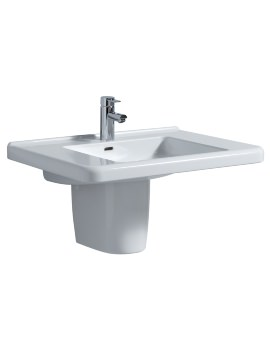 All 750 x 550mm 1 Tap Hole Washbasin With Semi Pedestal
