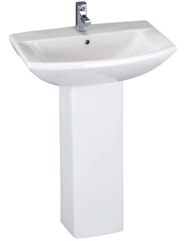 Asselby 500mm 1 Tap Hole Basin And Full Pedestal