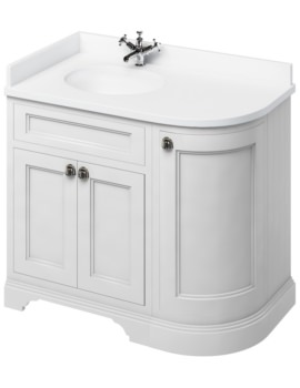 Freestanding 1000mm Matt White Left Hand Curved Vanity Unit