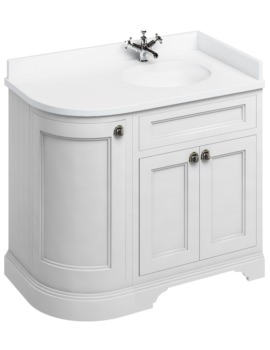 Freestanding Matt White 1000mm Right Hand Curved Vanity Unit