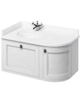1000mm Wall Hung Left Hand Curved Vanity Unit Matt White With Worktop And Basin