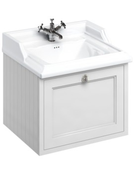 Wall Hung 650mm Matt White Drawer Unit With Classic Basin