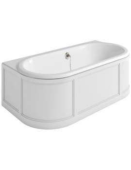 London 1800 x 950mm Back-To-Wall Bath With White Curved Surround