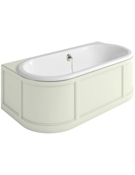 London 1800 x 950mm Back-To-Wall Bath With Sand Curved Surround