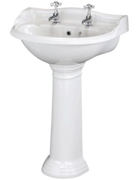 Beo Regent 600mm 2 Tap Hole Basin And Pedestal