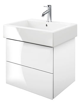 Duravit Delos 2 Drawers White High Gloss Unit With Vero 500mm Basin