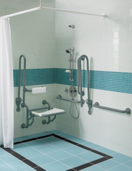 Doc.M Shower Pack With Grey Grab Rails And Seat