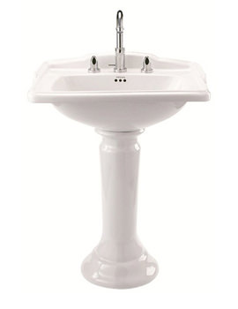 Drift 625mm Square Basin And Pedetal - White