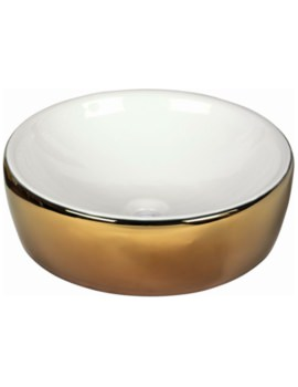 Lavabo 435mm Countertop Basin White And Gold