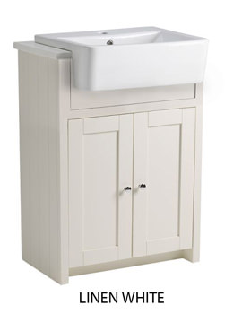 Lansdown 600mm Semi-Countertop Vanity Unit - Linen White