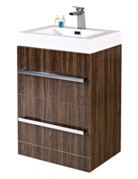 Vue 600mm Ebony Floor Standing Vanity Unit With Basin