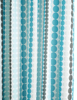 Dotted Stripe Textile Shower Curtain 1800 x 1800mm