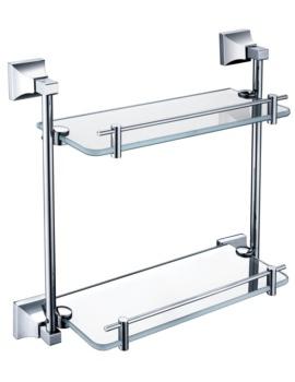 Heritage Chancery 408mm Double Glass Shelf With Chrome Brackets