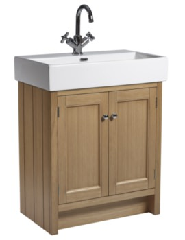 Hampton 700mm Natural Oak Vanity Unit With Basin