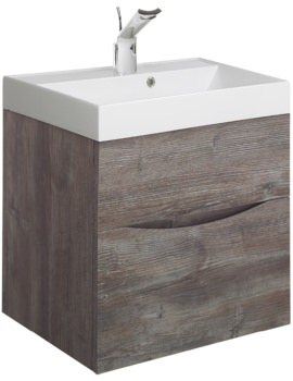 Glide II 500mm Double Drawer Vanity Unit Driftwood