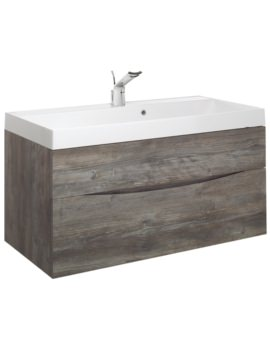 Glide II 1000mm Driftwood Double Drawer Vanity Unit