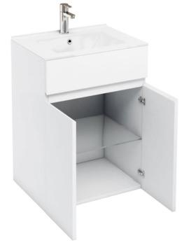 Britton Aqua Cabinets D450 White 600mm Floor Standing Double Door Vanity Unit