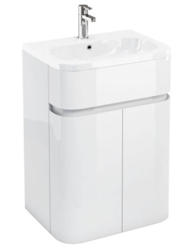 Britton Aqua Cabinets Gullwing White 600mm Floor Standing Vanity Unit With Basin