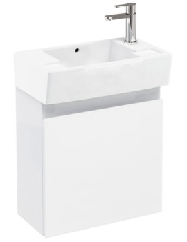 Aqua Cabinets Compact 305 Wall Hung Unit And RH Cloakroom Basin