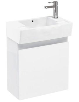 Aqua Cabinets Compact 305 Wall Hung Unit And RH Cloakroom Basin